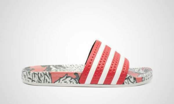 Adidas Originals Adilette Slides Made In Italy Red Multicolor Women New D96683