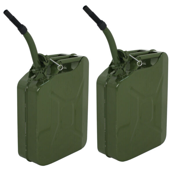 2 Jerry Can 5 Gallon 20L Gas Gasoline Fuel Army Army Backup Metal Steel Tank