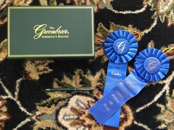Greenbrier Americas Resort Box Old Pen & 2 Blue Ribbons Cathy Justice Cornbread