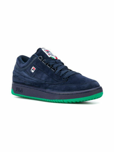 Fila Men's T-1 Navy/Green/Blue Mid Lace up Suede, Leather Athletic Sneakers