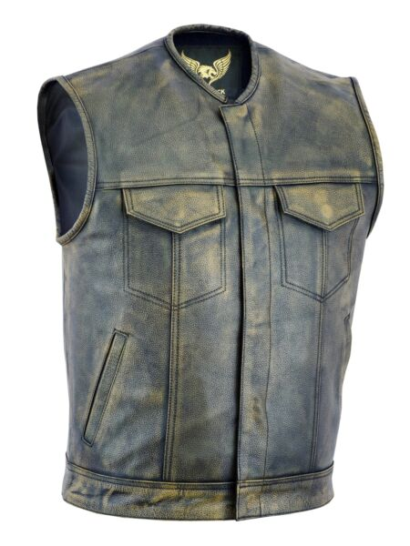 Men SOA Anarchy distress brown motorcycle biker Leather Vest with Gun Pockets $54.99