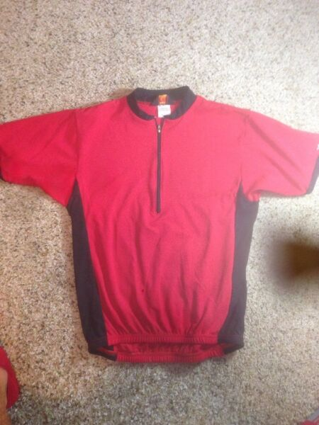Mens REI Bike Jersey Cycling Shirt Size M Pockets Pullover 1 2 Zip Red Ked $29.00
