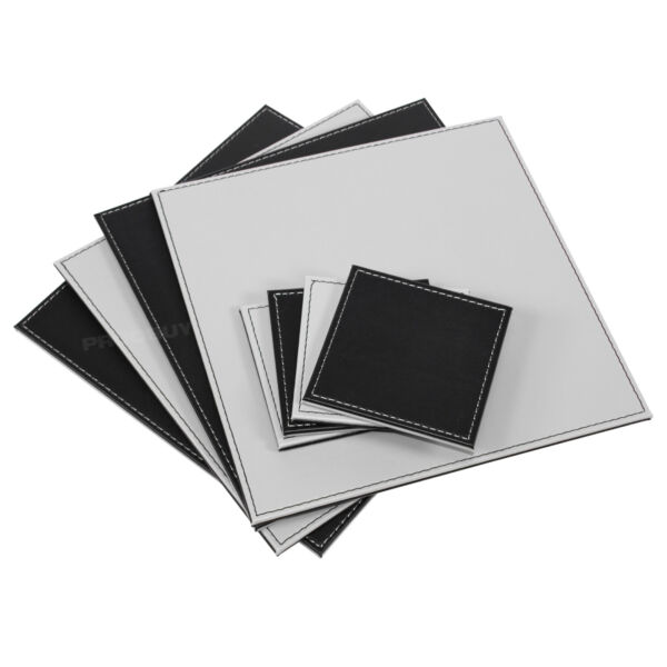 Set of 4 Faux Leather Black Grey Placemats and Coasters Table Setting Mats Place