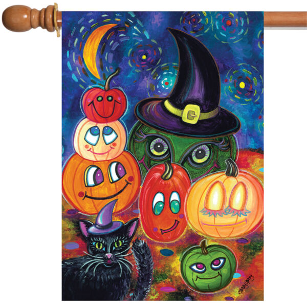 Toland Party Pumpkins 28 x 40 Colorful Halloween Night Pumpkin Gourd House Flag
