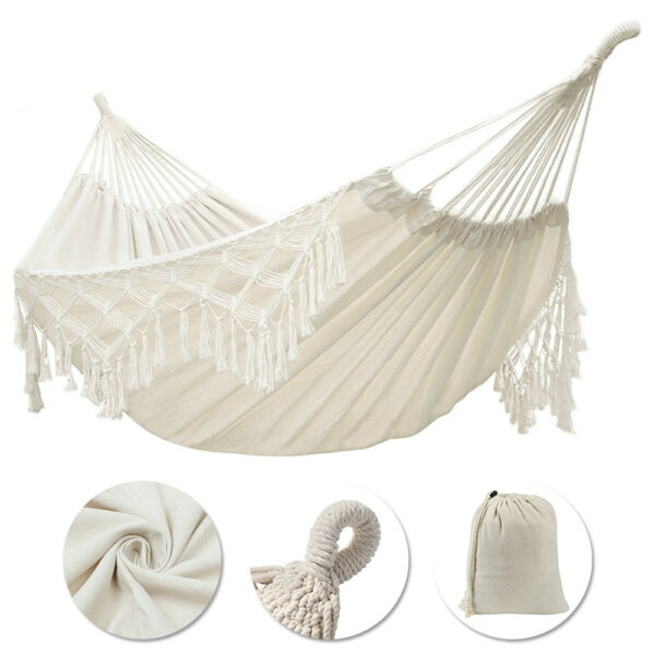 Double Hammock Fringed Macrame Rope Hanging Swing Chair Outdoor Camping 95x59quot; $30.78