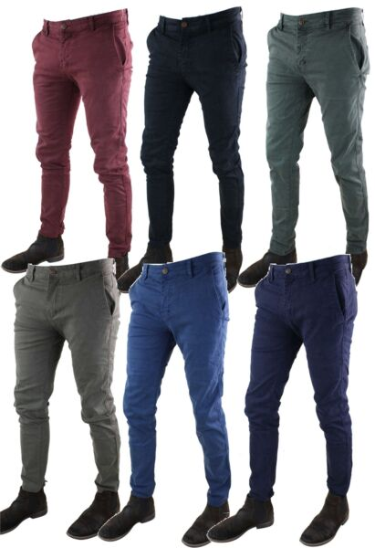 Mens Washed Casual Vintage Chino Jeans Trousers Cotton Tailored Fit Regular