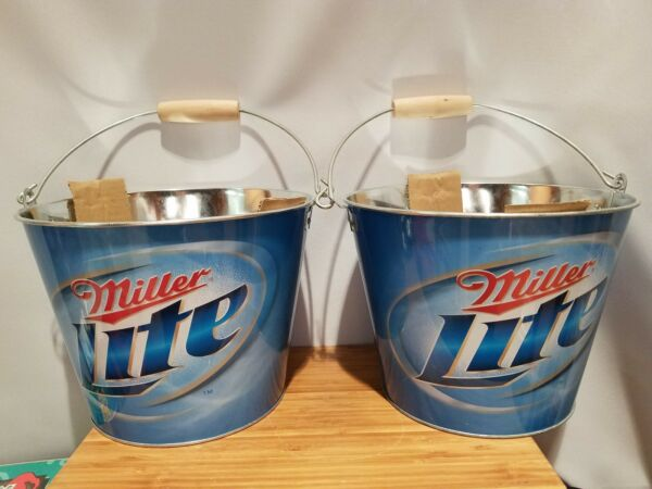 (2) Miller Lite Ice Buckets Party Drink Beer Holder Pail mancave w wood hndl New