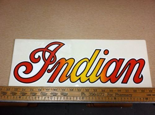 Set Of 2 vintage Indian Motorcycles Decals.18 X 6 1/2 inches. NOS stickers.