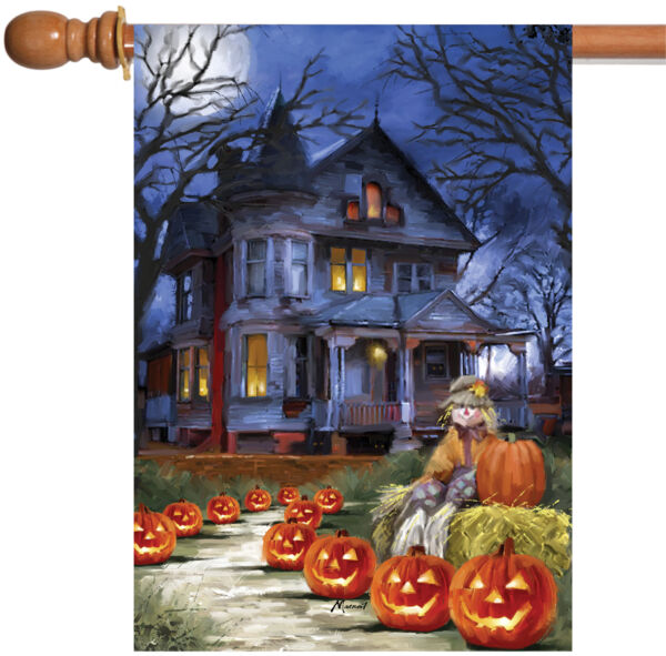 Toland Spooky Manor 28 x 40 Haunted Halloween Night Pumpkin Scarecrow House Flag