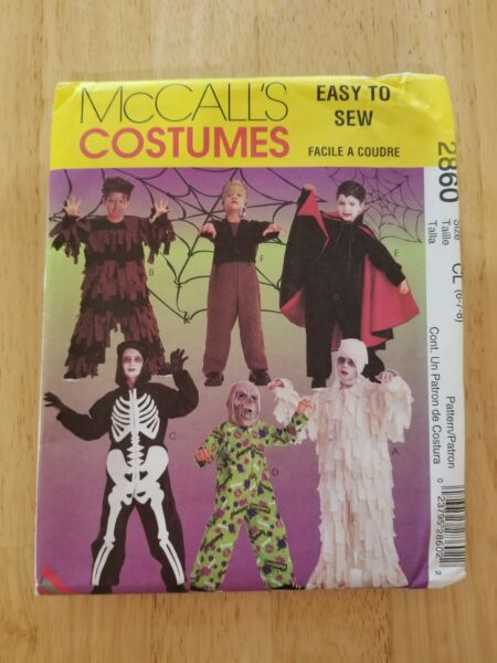 McCALLS COSTUMES PATTERN 2860 CHILDREN#x27;S BOYS#x27; SCARY COSTUMES SIZE 6 8