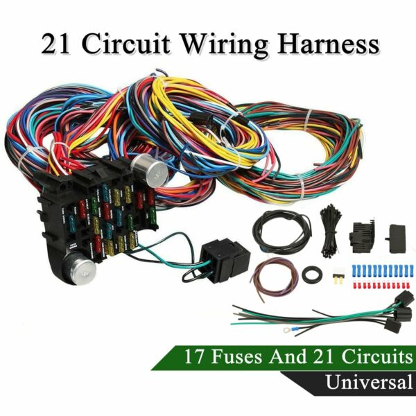 21 Circuit Wiring Harness For Chevy Mopar Ford Hotrods Long wires Universal