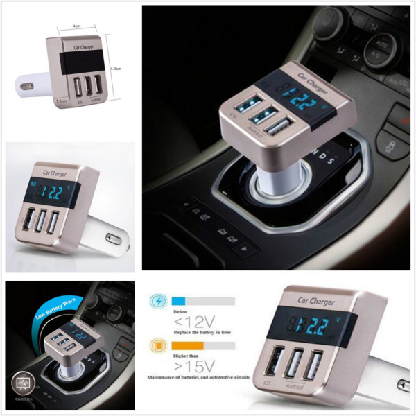 5V 3.1A Output Smart 3 USB Port Quick Charger Voltage Display Car Fast Charging