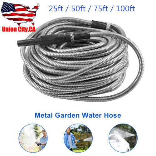 255075100ft Stainless Steel Flexible Metal Garden Water Hose Pipe+Nozzle Kit