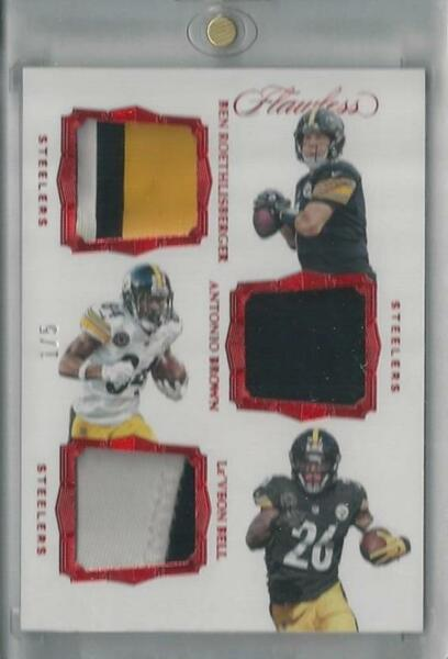 2017 PANINI FLAWLESS RED ROETHLISBERGER BROWN BELL TRIPLE PATCH 1 5 $80.00