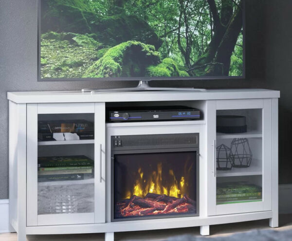 White Fireplace TV Stand 65 inch Wood 2 Cabinets 6 Shelves Media Console Storage