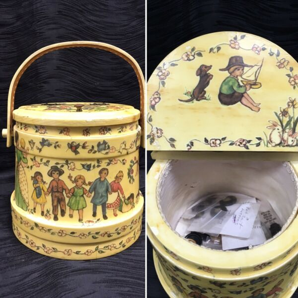 Atq Primitive Firkin Sugar Bucket Pantry Box Folk Art Painted Bail Handle Sewing