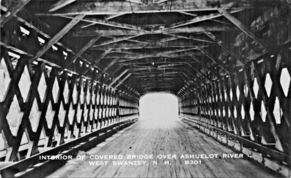 WEST SWANZEY NH~INTERIOR OF COVERED BRIDGE-ASHUELOT RIVER-REAL PHOTO POSTCARD