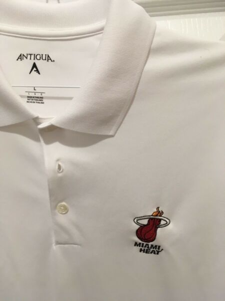 Miami Heat White Polo Golf Shirt Size Large $22.99