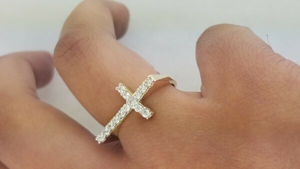 0.50 CT Round Cut Diamond Sideways Cross 14k Yellow Gold Right-Hand Promise Ring