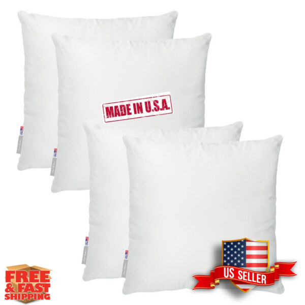 Set of 4  Made in USA Cotton Feel Soft  Microfiber Pillow Sham insert foam fill