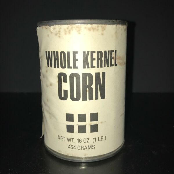 VINTAGE 1978 Whole Kernel Corn Tin Can George Orwell Dystopian Plain Label