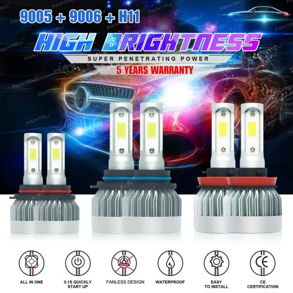 9005+9006+H11 LED Headlight Hi/Low Beam Bulb 6000K Fog Light Sets 4965W 744750LM