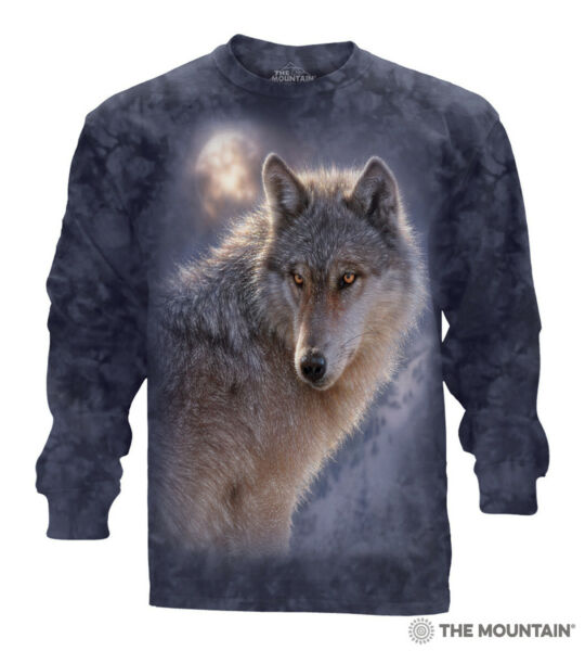 The Mountain 100% Cotton Adult Long Sleeve T Shirt Adventure Wolf Blue Large NWT $19.99
