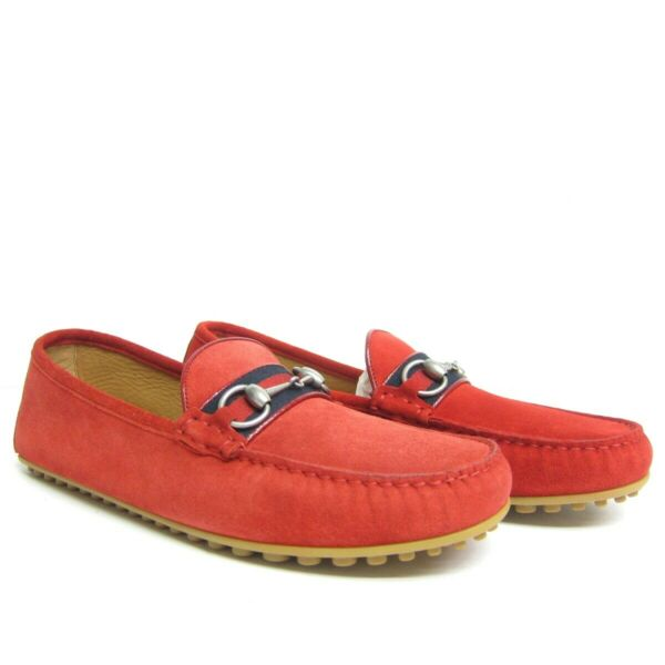 P-572186 New Gucci Kayne Ruby Suede Drivers Loafers Shoes Size US 10 UK 9
