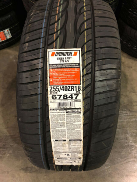 2 New 255 40 18 Uniroyal Tiger Paw GTZ AS Tires