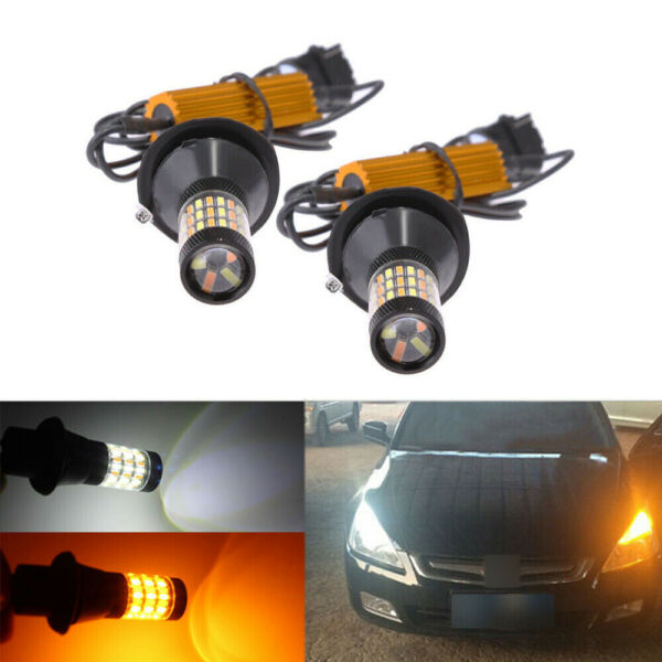 2x Switchback LED Bulbs For 2015 2016 Toyota Camry Front Turn Signal DRL Lights