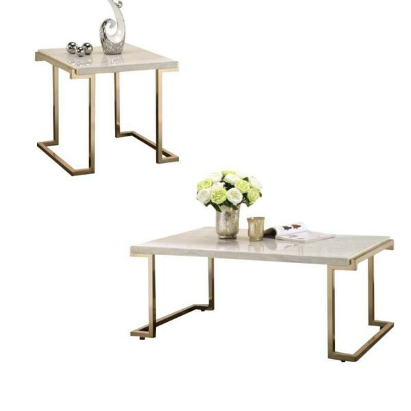 Boice II 2 Piece Coffee Table and End Table Set in Faux Marble and Champagne