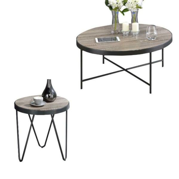 Bage 2 Piece Coffee Table and End Table Set in Weathered Gray Oak