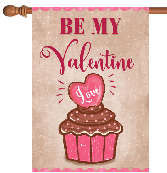 Toland Valentine Cupcake 28 x 40 Cute Be My Valentine's Day Heart House Flag