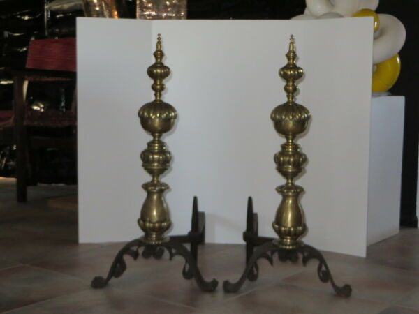Antique Pair of Monumental Brass & Iron Andirons Late 19th- Early 20th Century