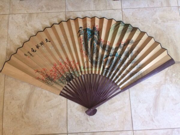 VINTAGE LARGE CHINESE PAINTED FAN CALLIGRAPHY CHOP MARK 170cm SPAN ORIGINAL BOX