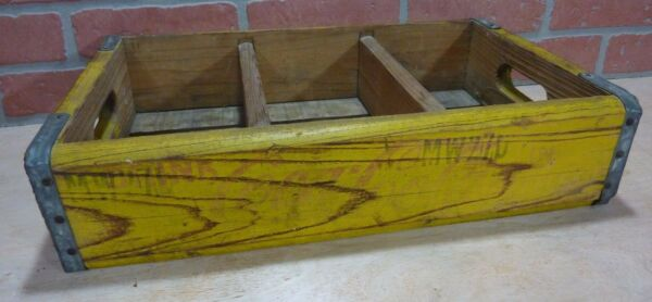Orig Old DRINK COCA-COLA Wooden Case Box Yellow Red COKE Soda Adv Sign Crate