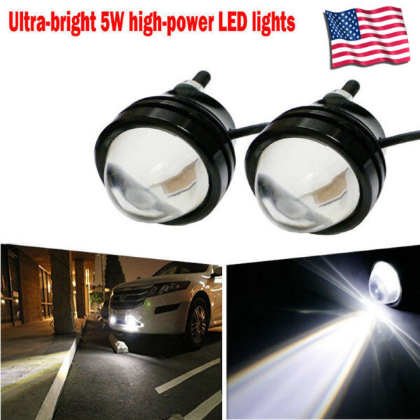 2 Pcs High Power Car White  Fish Eye 5W LED Projector Fog Light DRL Lamps