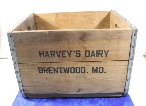 Vintage Harvey's Dairy Wooden Milk Crate with Metal Reinforcement on Edgesn VGC