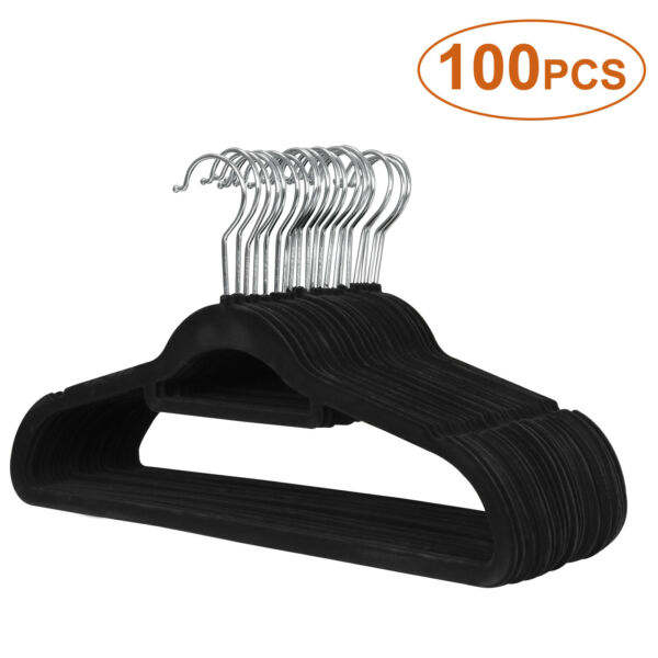 100Pack Premium Non-Slip Flocked Velvet Hangers Clothes Hangers SuitShirtPants