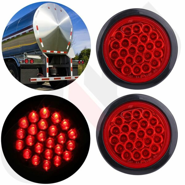 2X 4quot; Round Stop Turn Tail Brake Sealed Truck Trailer LED Lights Rubber Mount