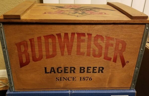 Budweiser Lager Beer Wooden Holiday Beer Crate 17x11x10