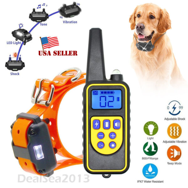 Dog Shock Collar With Remote Waterproof Electric For Large 875 Yard Pet Training $23.89