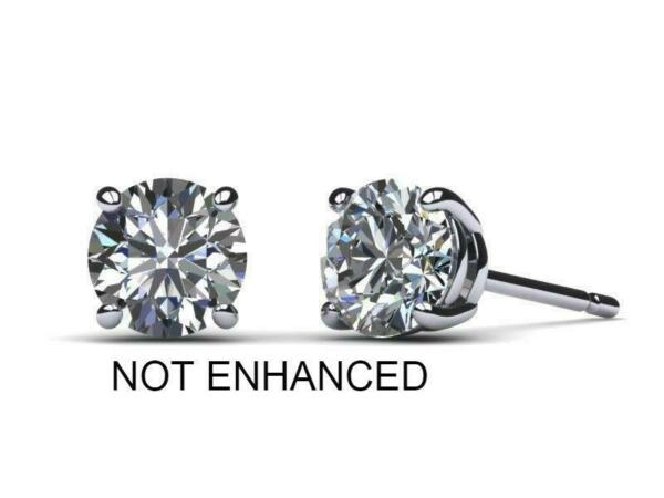 2.00 CT D SI1 Real 100% Natural Diamond  Round Cut Stud Earrings 14k White Gold