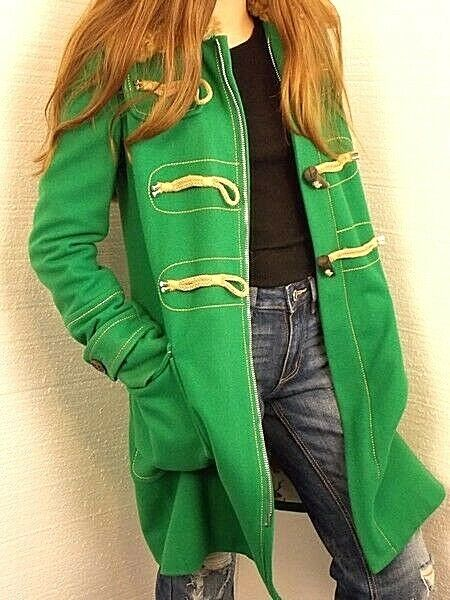 Dsquared2 NWOT Ladies Green Wool Blend Coat ToggleZipper Sz 40 Made in Italy