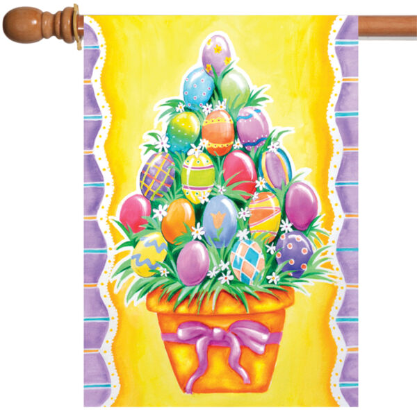 Toland Egg Stack 28 x 40 Colorful Easter Basket Bouquet House Flag