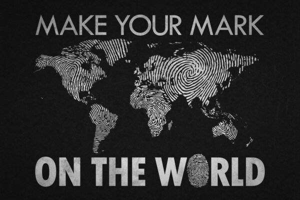Make Your Mark On the World Black Map Art Print Poster 18x12 inch