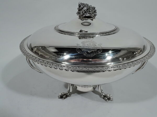 Tiffany Covered Vegetable Serving Dish on Stand - 999 - American Sterling Silver
