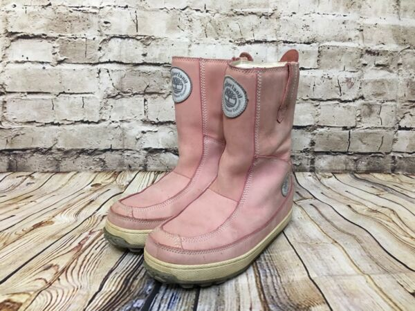 Timberland Pink Full Grain Leather Winter Boots Women#x27;s Size 7 M $69.95