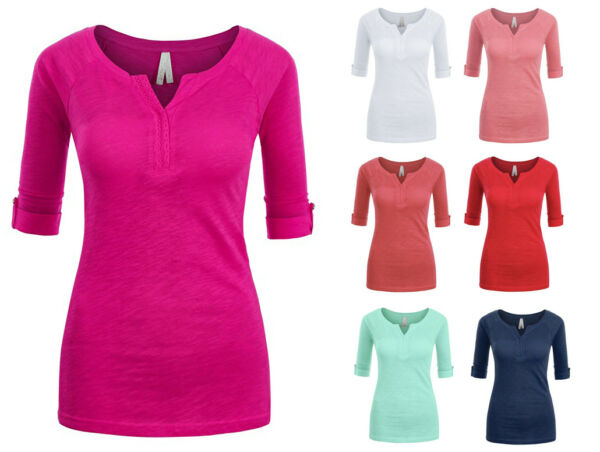 Women's Basic Soft Cotton Stretch 34 Sleeve V-Neck T-Shirt Top Solid Colors