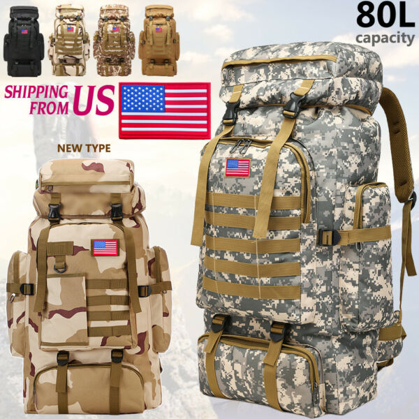 80L Outdoor Military Camping Hiking Trekking Backpack Rucksacks Tactical Bag